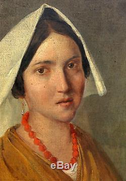 Portrait de femme italiennne Ecole Française du XIXème siècle Huile sur toile