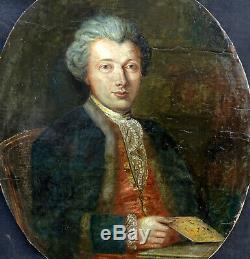 Portrait de gentilhomme Ecole française Huile sur Toile du XVIIIème siècle
