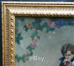 Portrait et Scène de Genre Huile sur Toile Ecole Française XIXème siècle