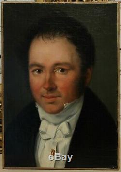 Portrait homme vers 1830, romantisme, epingle, foulard, cravate, empire