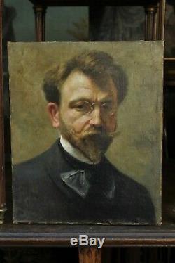 Portrait homme vers 1900, lunettes, barbe, moustache, lavallière, cravate