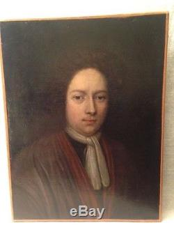 Portrait huile sur toile ancienne vers 1700