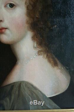 Portrait jeune femme époque XVIIème siècle, huile sur toile fin 17ème siècle