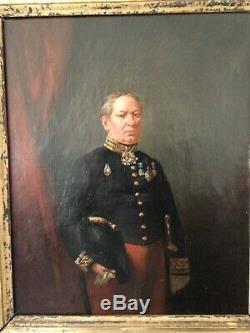 Portrait militaire empire milieu XIXème, huile sur toile signée, dédicacée 1858