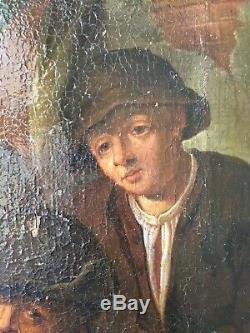 RARE Huile toile Peinture fin XVIIe Ecole Hollandaise Suiveur Ostade A RESTAURER