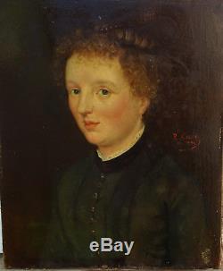 R. Carré Portrait de femme Huile sur toile fin XIXème siècle