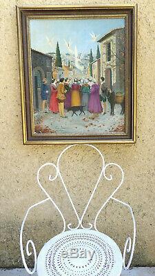 Rare Annonciation Provençale 1900. Grand Toile Impressionniste & Symboliste