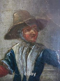Rare ECOLE FLAMANDE du XVIIè. Grande huile sur toile. Prêche à l'Eglise. ANVERS