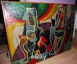 Rare Immense Huile Sur Toile Cubiste Signee Vercruysse Abstrait Femmes Nues