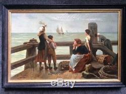 Ravissante huile sur toile XIX ième représentant une scène de port