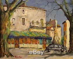 Raymond Vernet Huile sur toile Place de Grillon v 76