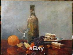 René Louis Chrétien (1867-1942), nature morte à la bouteille et aux oranges, 1896