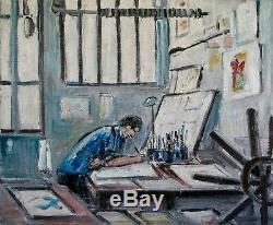Robert SAVARY Peinture originale Huile sur toile L'atelier de l'artiste