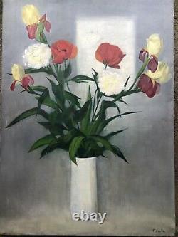 Roger FORISSIER École Lyonnaise Bouquet De Fleurs Pavots Huile 40P