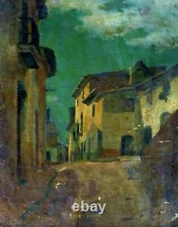 Rue De Village. Huile Sur Toile. École Catalane. Espagne. Xixème Siècle