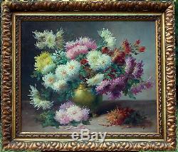 SAVIGNY, Chrysanthèmes des jardins, fleurs, nature morte, Godchaux, tableau
