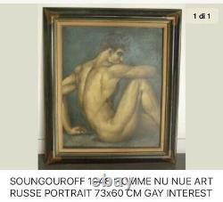 SOUNGOUROFF 1948 HOMME NUE TABLEAU ART RUSSE HST PORTRAIT 73x60 GAY INTEREST