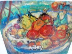 SOURDILLON Berthe (1895-1976) Les fruits rouge en corbeille Huile sur toile