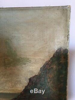 SUPERBE Huile toile peinture tableau MARINE MER signée XIX Côte Armor Elégantes