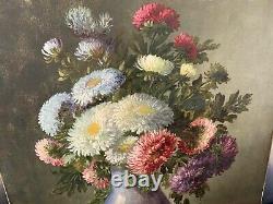 SUPERBE huile sur toile XIXe, Vase aux fleurs signé Gaston BOUCHER