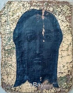 Sainte Face / christ huile ou tempera sur toile