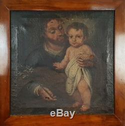 San José Et L'enfant Jésus. Huile Sur Toile. École De Sevilla. Xviiième Siècle