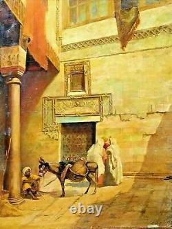 Scene Orientaliste. Huile Sur Toile. Doublé. Signé F. Audet . France. Xixe