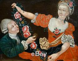 Scène de Genre Marchande de Fleurs Huile sur Toile du XVIIIème siècle Portrait