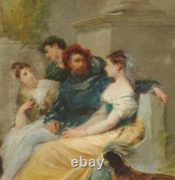 Scène galante au joueur de cithare Ecole française du XIXème Huile sur toile