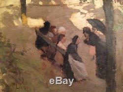 Scène impressionniste femme parc Dijon Paul Lippe huile sur toile ancienne XIX