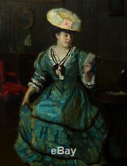 Schert Grand Portrait de Femme Huile sur Toile XIXème siècle