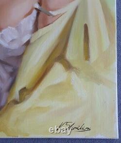 Skribins Tableau Peinture Huile Sur Toile 80x40, Grand Format