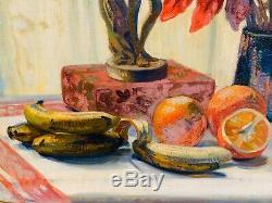 Splendide Huile sur toile grand format, nature morte Oranges et banane