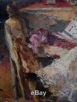Splendide Jeune femme salon Impressionnisme Filosa Italie Tableau ancien 1900
