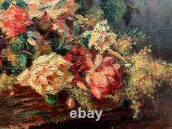 Sublime Grande Huile sur toile Fin XIXe Panier aux fleurs signée THOMAS JEAN