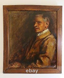 Sublime Huile sur toile, Grand Portrait de notable, d'époque XIXe
