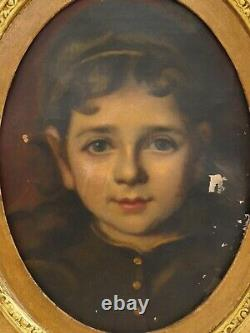 Sublime Huile sur toile Portrait de jeune fille d'époque XIXe École Française