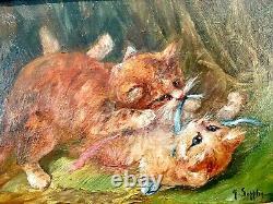 Sublime Huile sur toile fin XIXe Les Chatons signée Henriette Suppligeau