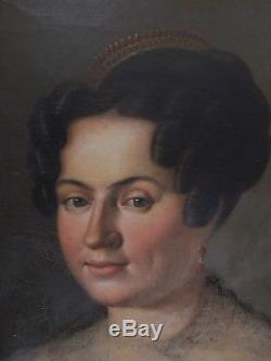 Superbe Huile début du XIX e portrait de jeune femme au diadème de corail
