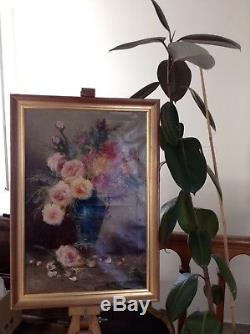 Superbe Huile sur Toile Tableau Bouquet de Fleurs Signé fin XIXe déb 1900