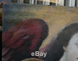 Superbe Tableau Ancien Huile Portrait Archange Ange Ailes XVIIIe à restaurer