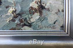 Superbe Tableau Paysage de Neige signé Gericke post impressionniste (cf Monet)
