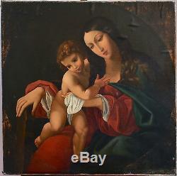 Superbe, Vierge à l'enfant, Madone, anonyme, Grande huile 96x96 cm