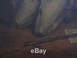 Superbe huile début du XIXe la prière du soldat apprenant la victoire de WAGRAM