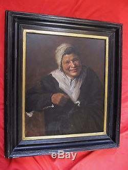 Superbe huile sur toile fin 19 é siécle portrait d'une paysanne au bonnet