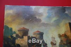 Superbe marine, vue d'un port, fin XVIIIè, début XIXè, huile sur toile, signée
