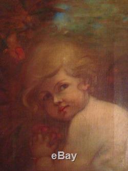 Superbe portrait d'enfant ange putti XIX huile sur toile ancienne