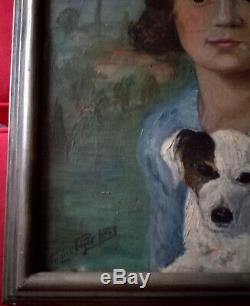 Superbe portrait d'une petite fille et de son chien, Huile sur toile, signée