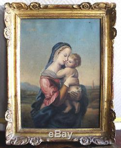 Superbe tableau huile sur toile époque 19eme figurant une femme à l'enfant/ALB1