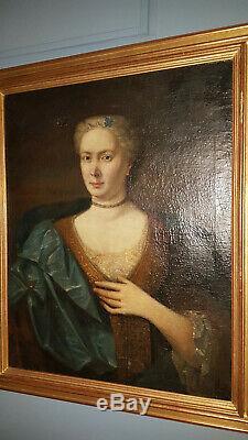 TABLEAU ANCIEN ÉPOQUE XVIIème PORTRAIT FEMME PÉRIODE LOUIS XIV